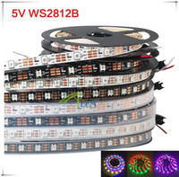 rgb led ws2812b al por mayor-5m 60 LEDs / m WS2812B WS2812 Píxeles PCB blanco Impermeable WS2811 IC 5050 RGB SMD Color digital LED flexible Tira de luz 5V 00000