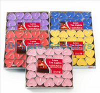 Wholesale Paraffin Tea Light Candles - 2Hours Candle Hosley's Set of 50 Heart Style Tea Light Candles Smokeless And OdourlessTealight Birthday Valentine's day Weddings Product