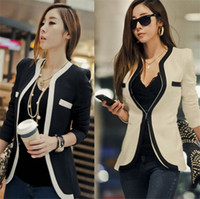 Wholesale Work Jacket Korean - Casual Suit Fashion Women Suit Coat Jacket Vestidos Casual OL Work Clothes Casual Korean Ladies White Black Suit Blazers