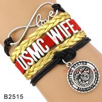 Wholesale Marine Wife - Customizable Infinity Love United States Marine Corps Wife Bracelet USMC Wife Multilayer Bracelet Black Red Gold Leather
