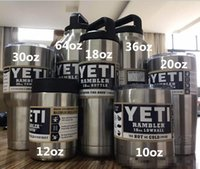 Wholesale Cheap Stainless Bottles - Cheap 10 12 20 30  36oz 64oz Yeti cup 304 stainless steel double layer beer bottle 18oz car cup
