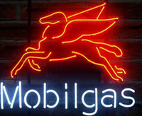 """Wholesale gas signs - New MOBIL GAS PEGASUS Glass Neon Sign Light Beer Bar Pub Arts Crafts Gifts Lighting Size 22"""""""
