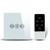 Wholesale Wireless Remote Electric Switch - Wholesale-Smart Home Wireless Remote Control Curtain Touch Switch RF433MHz EU UK Electric Curtain Wall Switch Wifi COntrol with RM PRO