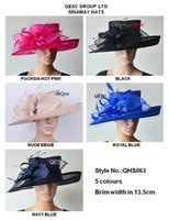 Wholesale Royal Hats For Women - Wide brim Sinamay Hats Fascinators Church hats for races,wedding,kentucky derby,5 colors,black,nude beige,royal,hot pink,navy blue.