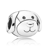 Wholesale Authentic Pandora Dog Charm - Authentic 925 Sterling Silver Animal Bead Charm European Cute Dog Beads Fit Women Pandora Bracelet Bangle Diy Jewelry HKA3318