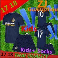 Wholesale Boys Athletic Shorts - 2017 New LA Galaxy kids + socks away deep blue uniform thai quality short sleeve jerseys men's athletic outdoor sports tracksuit