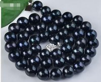 Wholesale Tahtian Pearl - charming stunning beautiful china Jewelry new AAA 11-12mm natural tahtian black pearl necklace 18 inch silver clasp
