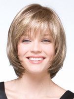 Wholesale Synthetic White Hair Bangs - Sexy Synthetic Wigs Short Straight Hair Blonde Wigs With Bangs Wigs For Women Peruca Peluca Perruque Bob Wig