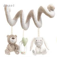 Wholesale Bb Bears - Wholesale- AOSST Pram hang high quality pram beautiful bear cute cartoon rabbit animal model of bed BB sound plush toy bear