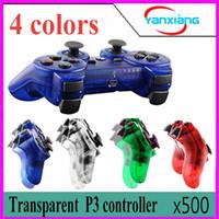 Wholesale ps controller bluetooth - 500pcs Transparent 4 color Wireless Bluetooth Game Controller Joysticks Gamepads Controller Compateble For P3 controller ZY-PS-04