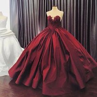 Wholesale Taffeta Puffy Wedding Dress - 2017 Puffy Ball Gown Wedding Dress Colorful Burgundy Lace Appliques Taffeta Sweetheart Sleeveless Custom Made Bridal Gowns