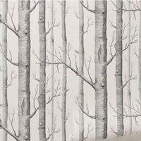 Wholesale Wallpaper Designer Wholesale - Wholesale-Birch Tree Pattern Non-woven Woods Wallpaper Roll Modern Designer Wallcovering Simple Black And White Wallpaper For Living Room