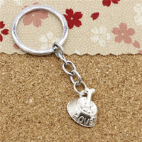 Wholesale Wholesale Metal Dog Bowls - Fashion Diameter 30mm Chrome plate Key Ring Metal Key Chain Jewelry Antique Silver Plated dog bone in bowl 21*17mm Pendant