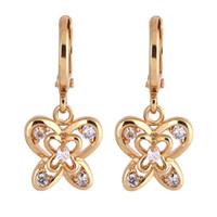 fb2a0f6838e6 aros mariposa aretes al por mayor-Nuevos pendientes de la vendimia de  cristal de oro