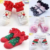 Wholesale Boys Christmas Socks - INS 5 christmas styles kids socks new arrivals Girls BOY 100% cotton cute Lace Santa Claus socks children's comfortable good quality sock