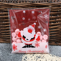 Wholesale Red Cellophane Bags - Wholesale-10x11cm Christmas Santa Claus & Snowflakes Red Slef-adhesive Biscuit bag, Cute Cookie bags , Small Cellophane Bags 50pcs