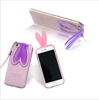 Wholesale Cute Purple Lanyard - Fashion Cute Transparent Silicone tpu bumper Rabbit Ears Lanyard Back Stand Case Cover for iPhone 4 4S 5 5S se 6 6s 7 Plus back cover
