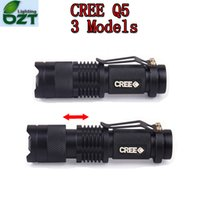 Comercio al por mayor ePacket gratis, 5 colores luz de flash 7W 300LM CREE Q5 LED que acampa linterna antorcha foco ajustable zoom impermeable linternas lámpara