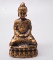 ingrosso sculture di arte del buddha-decorazioni natalizie per la casa + Alta 12 cm !!! Da collezione in ottone vecchio cinese intagliato scultura di Buddha / statua antica statua di Buddha artigianato d'arte antiquariato