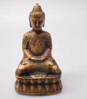 antike messing buddha-statue großhandel-Weihnachtsschmuck für zu Hause + Hohe 12CM !!! Sammlerstück Chinese Old Messing geschnitzte Buddha-Skulptur / antike Buddha-Statue Arts Crafts Antiqu