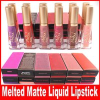 Wholesale melted lipsticks online - Newest Makeup Faced Melted Matte Lip Gloss Sexy Cosmetics Matte Liquified Waterproof Lasting No Stick Lipsticks colors