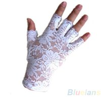 Wholesale Ladies White Gloves Wholesale - Wholesale- Hot New Goth Party Sexy Dressy Women Lady Lace Gloves Mittens for AccessoriesFingerless Black White 0JFA
