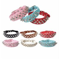 Wholesale Drop Shipping Bullet - 6 colors Adjustable Leather Rivet Spiked Studded Pet Puppy Dog Collar Bullet design Neck Strap kitty drop ship supply G480
