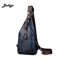 Wholesale Travel Sling Leather - Wholesale- Vintage Men's Leather High Quality Sling Crossbody Chest Bag Travel Motorcycle Shoulder Messenger