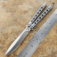 Wholesale Milling Spring - Theone BM42 Balisong Butterfly knife Solid Milled Skeletonized Polished Finished Stainless Steel Handles Spring Latch BM42