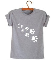 Wholesale Paw Prints T Shirts - Wholesale- cat paws print Women tshirt Cotton Casual Funny t shirt For Lady Top Tee Hipster gray Drop Ship Z-326