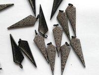Wholesale Spike Gunmetal - 6pcs 40mm Micro Pave Diamond Connectors, Pave Black Diamond CZ , Spikes Arrow Sharp Gunmetal Pendant