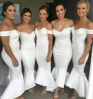 Wholesale Wholesale Maid Honor Dresses - Simple Design White Spandex Fabric Custom made Hi-lo Maid of Honor Cheap Dress Bridesmaid Wedding Guest Dresses