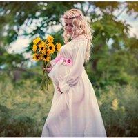 Wholesale Chiffon Pleated Gauze Dress - White Lace Free Size Maternity Dresses Two Layer Gauze Photography Props Pregnant Women Long Dress Elegant Pregnancy Clothes