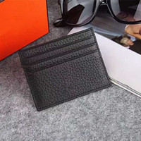 Wholesale Leather Slim Wallet Women - Genuine Leather Credit Card Holder Wallet High Quality Men Women Business Slim ID Card Case 2017 New Arrivals Fashion Pocket Bag Coin Purse