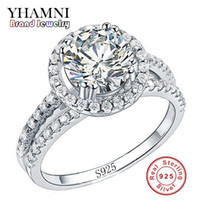 925 china diamond ring großhandel-YHAMNI Modeschmuck Ring Haben S925 Stempel Echt 925 Sterling Silber Ring Set 2 Karat CZ Diamant Eheringe für Frauen 510