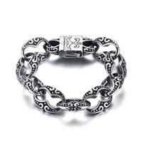 Wholesale Heavy Cuffs - Wholesale- Mprainbow Men's Stainless Steel Fleur-de-Lis Link Bracelet for Men Vintage Heavy Gothic Punk Biker Jewelry with 8.5inch