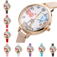Оптовые женщины Rhinestone Watches Paris Eiffel Tower Watch Women Ladies Fashion Leather Quartz Наручные часы