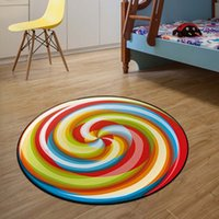 Wholesale Lemon Bedroom - 2018 New Arrival 3D round fruit rug non-slip tomato watermelon lemon Candy floor carpeting 60 cm home decorations