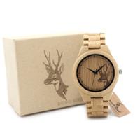 Wholesale Leather Head Bands For Women - BOBO BIRD Classic Bamboo Wooden Watch Elk Deer Head casual wristwatches bamboo band quartz watches for men women