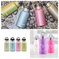 Wholesale Thermal Cup Kids - 350ml Kids Stainless Steel Double Wall Vacuum Cups Leakage-proof Water Bottle Portable Outdoor Sports Bottle With Carabiner CCA6437 10pcs