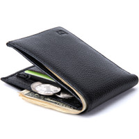 Wholesale Man Thin Wallet - Baborry Quality New Men's Genuine Leather Wallets Black Color Light Soft Quality Soft 2 Fold Thin Coin Pocket Credit Card Holder Purse