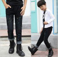 Wholesale Cool Jeans For Kids - 2017 new arrival autumn fashion kids long trousers cool navy blue denim cotton elastic waist colorful jeans pants for big boy 100-170cm