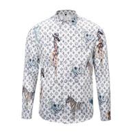 Wholesale Newest Fashion Shirts - newest 2017 fashion Wave Of Men 3D Floral Print Colour Mixture Luxury Casual Harajuku Shirts Long sleeve Men's Medusa Shirts M--2XL