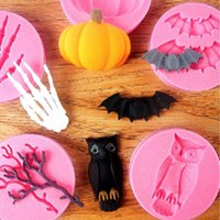 Wholesale Silicone Baking Molds Halloween - 6pcs set Halloween Series Bat Owl Spider Twig Skeleton Hand Pumpkin Silicone Fondant Cake Molds for Kitchen Baking Molds TZ018