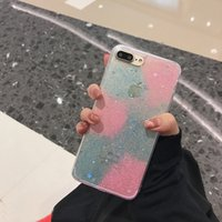 Wholesale Bling Dust Cover - Glitter Powder Bling TPU Case For iPhone 6 6S Plus 7 Plus & Dust plug Sparkling Stars Clear transparent Soft Back Cover Free Shipping