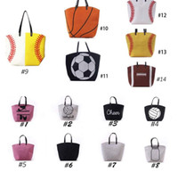 Wholesale canvas bucket - Canvas Bag Baseball Tote Sports Bags Casual Softball Bag Football Soccer Basketball Cotton Canvas Tote Bag KKA1814