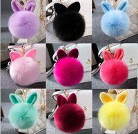 Wholesale Bunny Tin - 10pcs Fur Pom Pom 10cm Keychain Rabbit Ear fur ball key chain Bag Charms bunny keychain Keyring