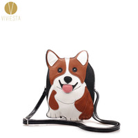 Wholesale Dog Shaped Handbags - Wholesale- CORGI DOG CROSSBODY BAG - Women's Girls' PU Faux Leather Puppy Shaped Animal Lover Novelty Cute Messenger Across Bag Handbag