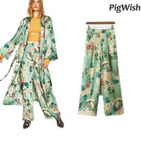 Wholesale Vintage Sequin Cardigan - 2017 Vintage Green Floral Print Long Kimono Jacket Cardigan Blouse Sashes Two Pockets Shawl Side Split Hem Shirt Women