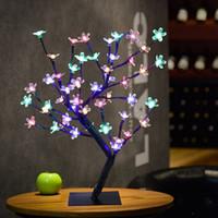 ingrosso portato albero fiore di ciliegio-45CM 48LEDs Cherry Blossom Tree Lights LED Flower Tree Light Desk Top Bonsai Tree Light Matrimonio Natale Indoor / Outdoor Decorazione Lampada